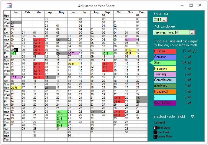 adjustment year sheet