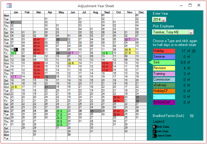 adjustment year sheet